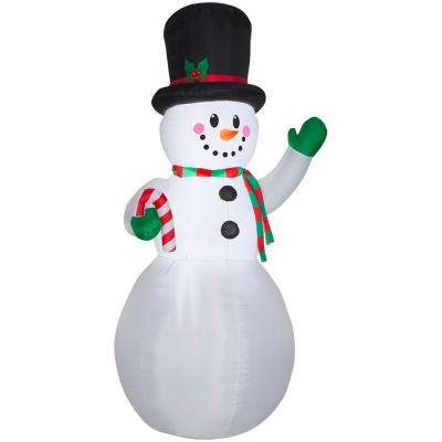 9 ft. Pre-Lit Giant Airblown Inflatable Snowman with Candy Cane