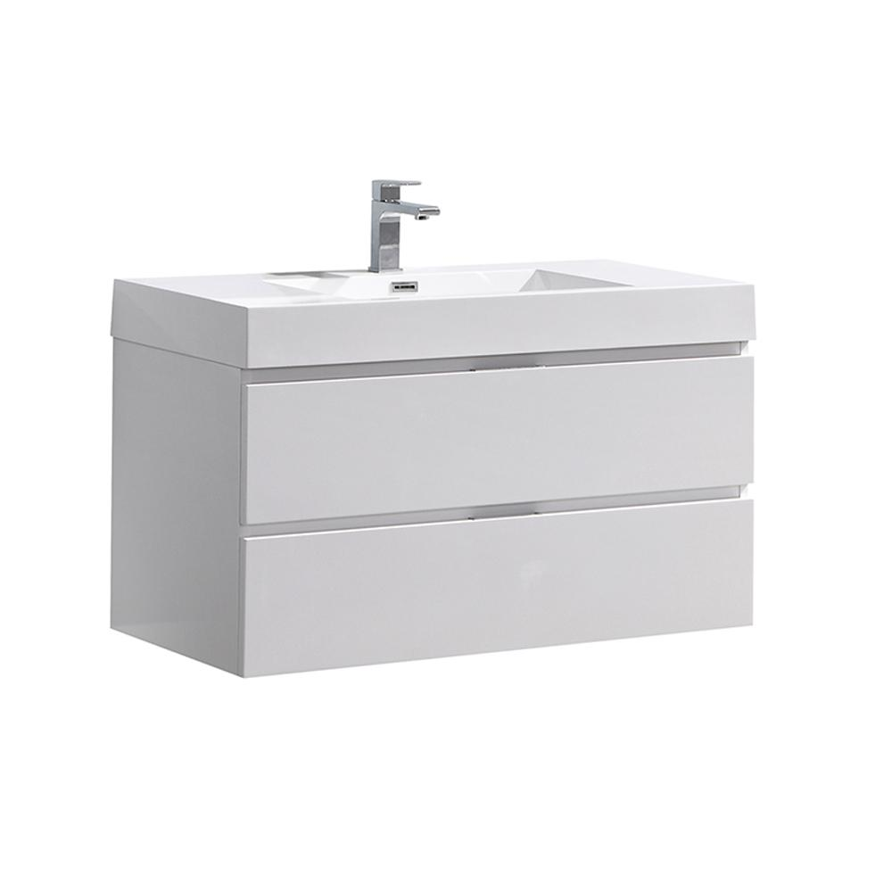 Fresca Valencia 40 in. W Wall Hung Bathroom Vanity in Glossy White with Acrylic Vanity Top in White