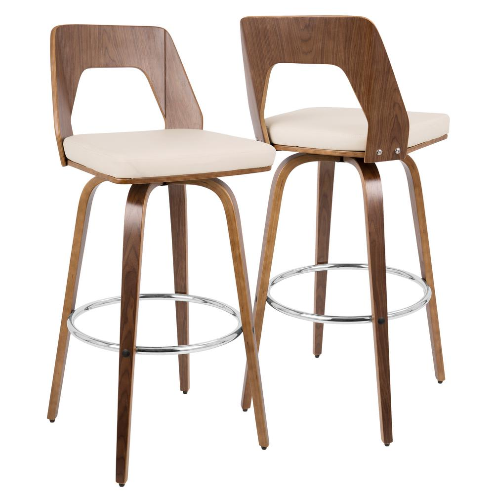 Lumisource Trilogy Walnut And Cream Mid Century Modern Barstool