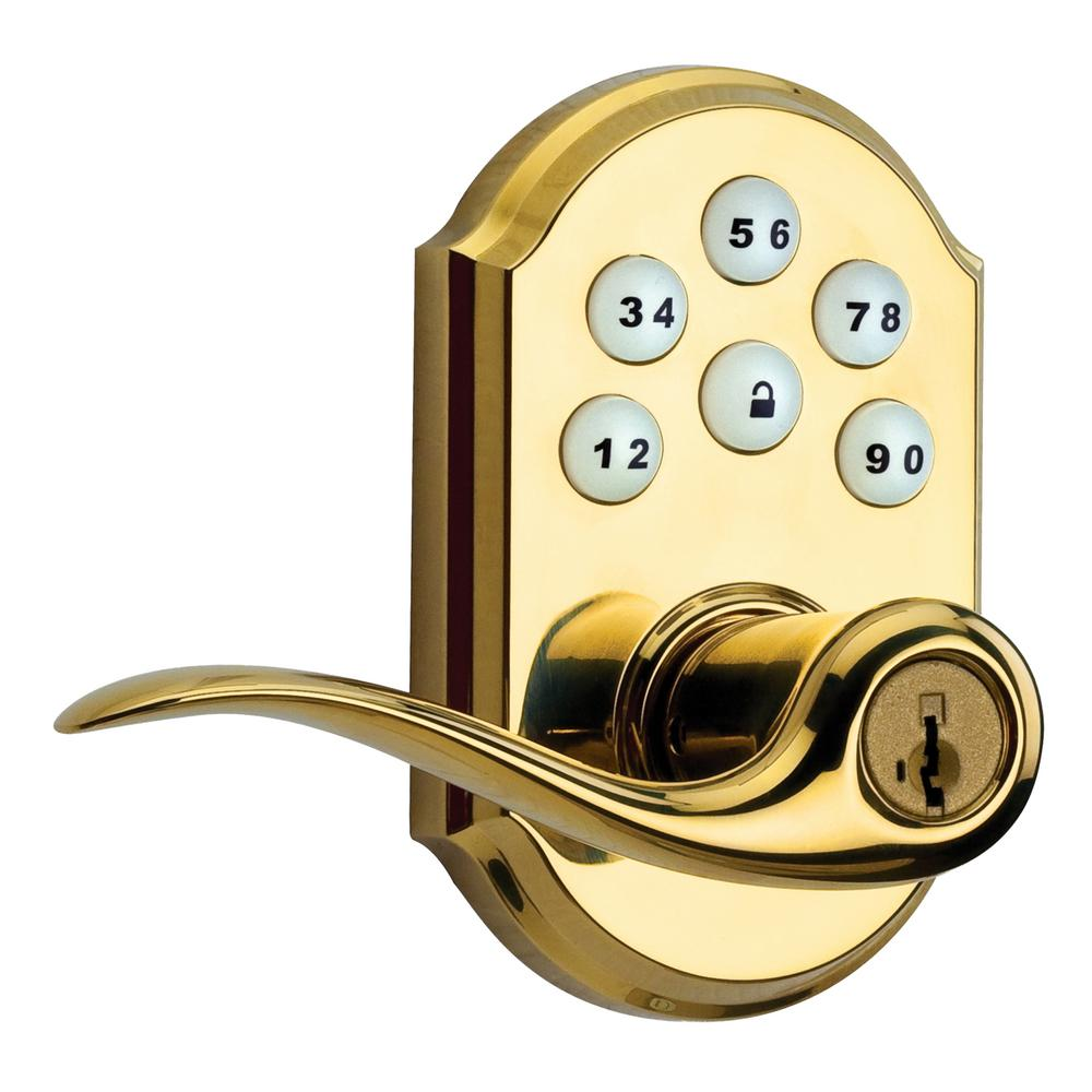 Z-Wave SmartCode Lifetime Polished Brass Electronic Tustin Door Lever Featuring