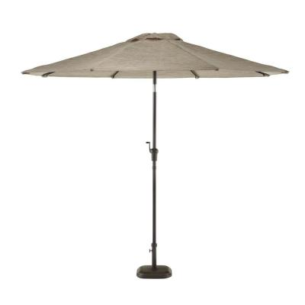 9 ft. Riverbed Steel Espresso Brown Market Crank and Tilt Outdoor Patio Umbrella in Taupe