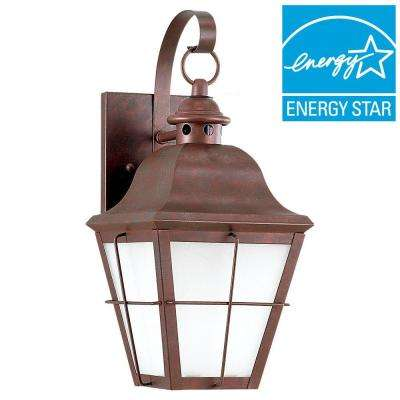 Chatham 1-Light Outdoor LED Weathered Copper Wall Mount Lantern