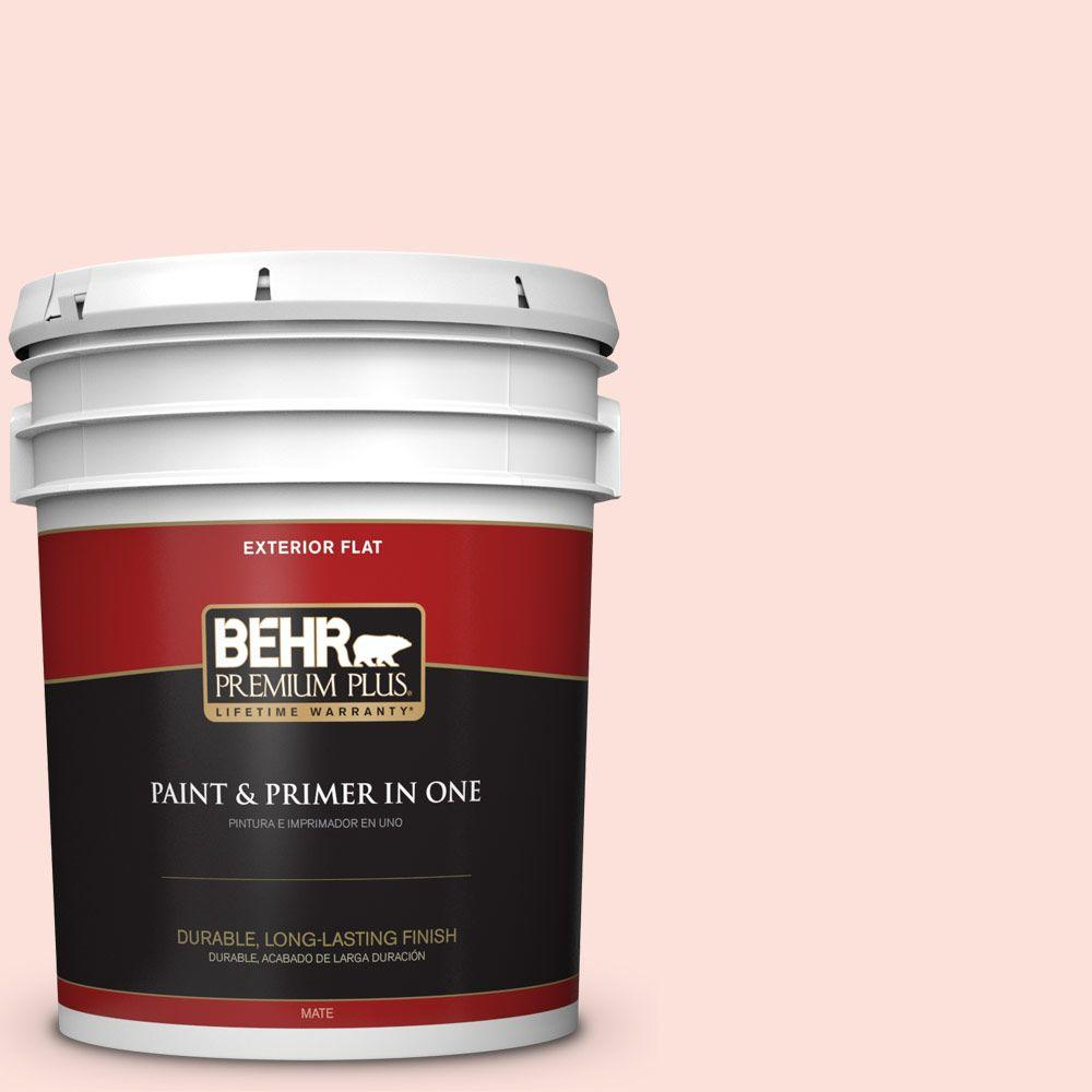 BEHR Premium Plus 5-gal. #200A-1 Peach Cloud Flat Exterior Paint