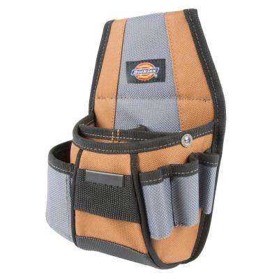 4-Pocket Rigid Tool Pouch Grey / Tan