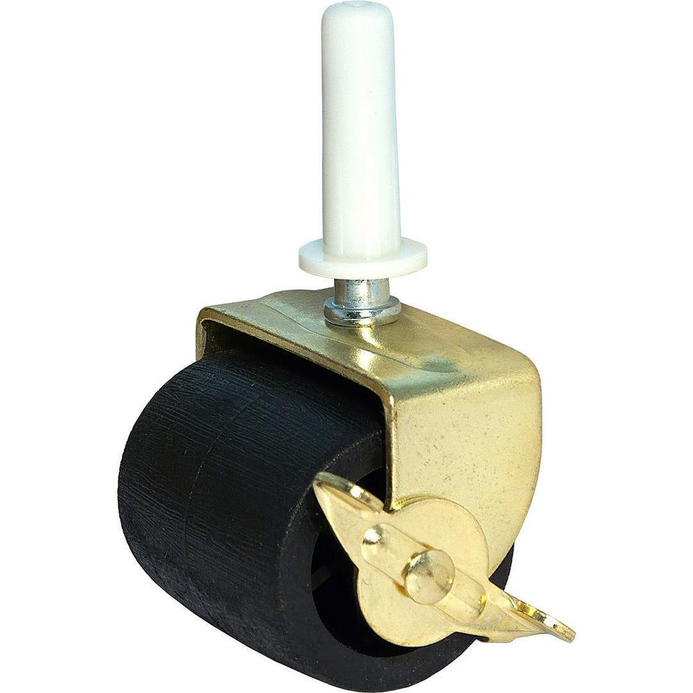 2 in. Brass and Black Caster with 126 lbs. Load Rating