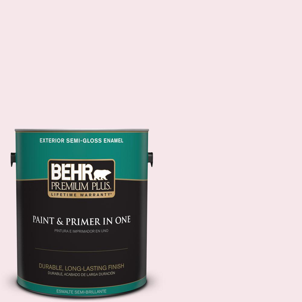 BEHR Premium Plus 1-gal. #120A-1 Light Chiffon Semi-Gloss Enamel Exterior Paint