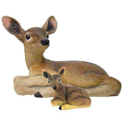 14 in. Lying Deer and Baby Fawn 6 in. Statue Combo Family Set