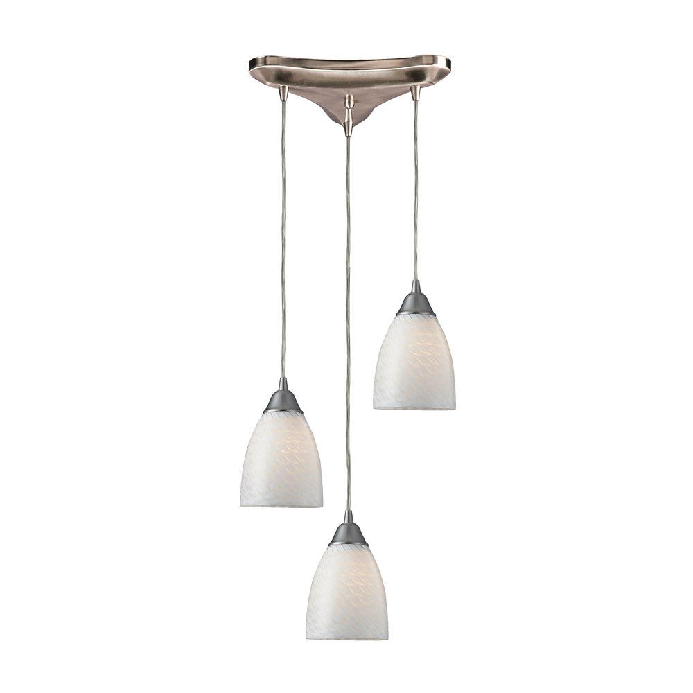 Arco Baleno 3-Light Satin Nickel Pendant with White Swirl Glass Shade