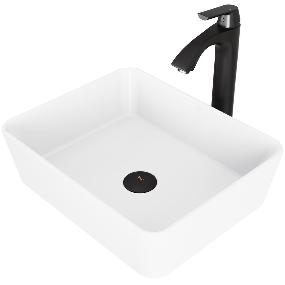 Vigo Marigold White Matte Stone Vessel Bathroom Sink Set