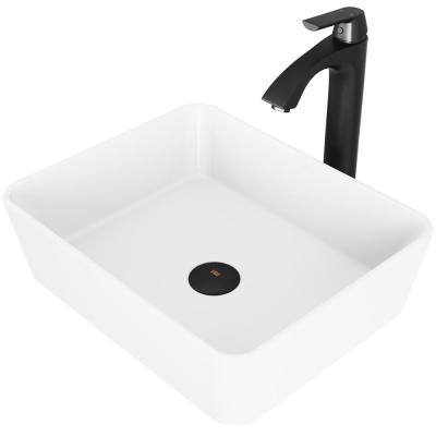 Marigold White Matte Stone Vessel Bathroom Sink Set with Linus Vessel Faucet in Matte Black