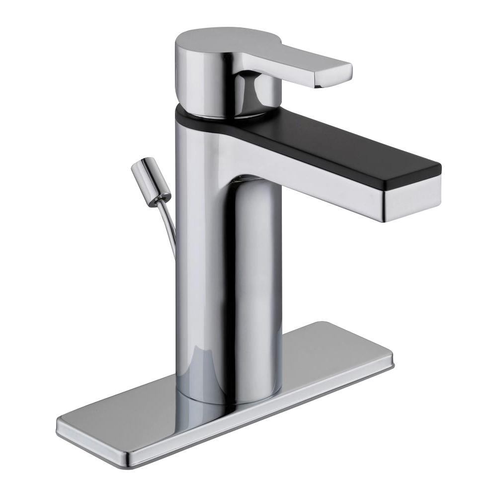 Glacier Bay Modern Contemporary Single Hole Single-Handle Low-Arc Bathroom Faucet in Dual Finish Chrome and Matte Black
