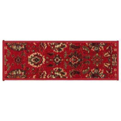 Ottohome Collection Red Floral Design 9 in. x 26 in. Rubber Back Stair Tread (Set of 13)