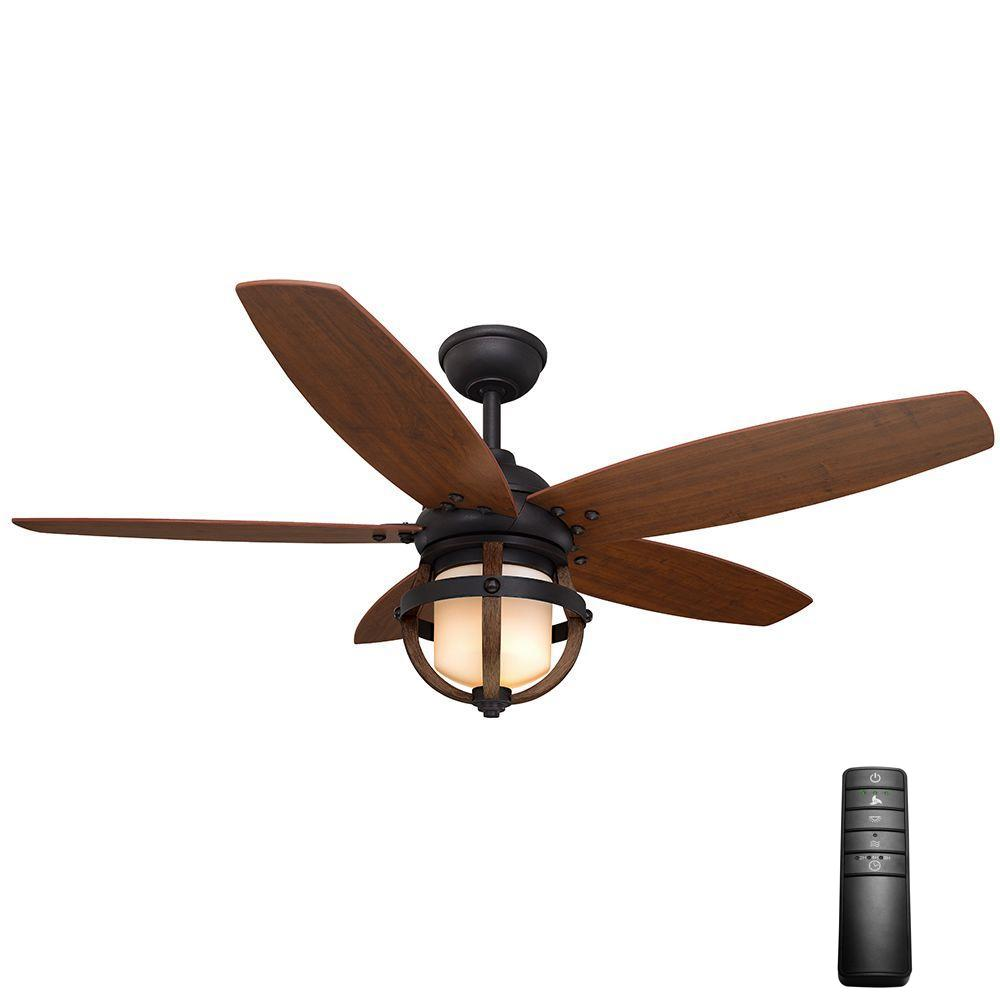Home Decorators Collection Noah 52 In Indoor Forged Iron Ceiling Fan With Light Kit And Remote