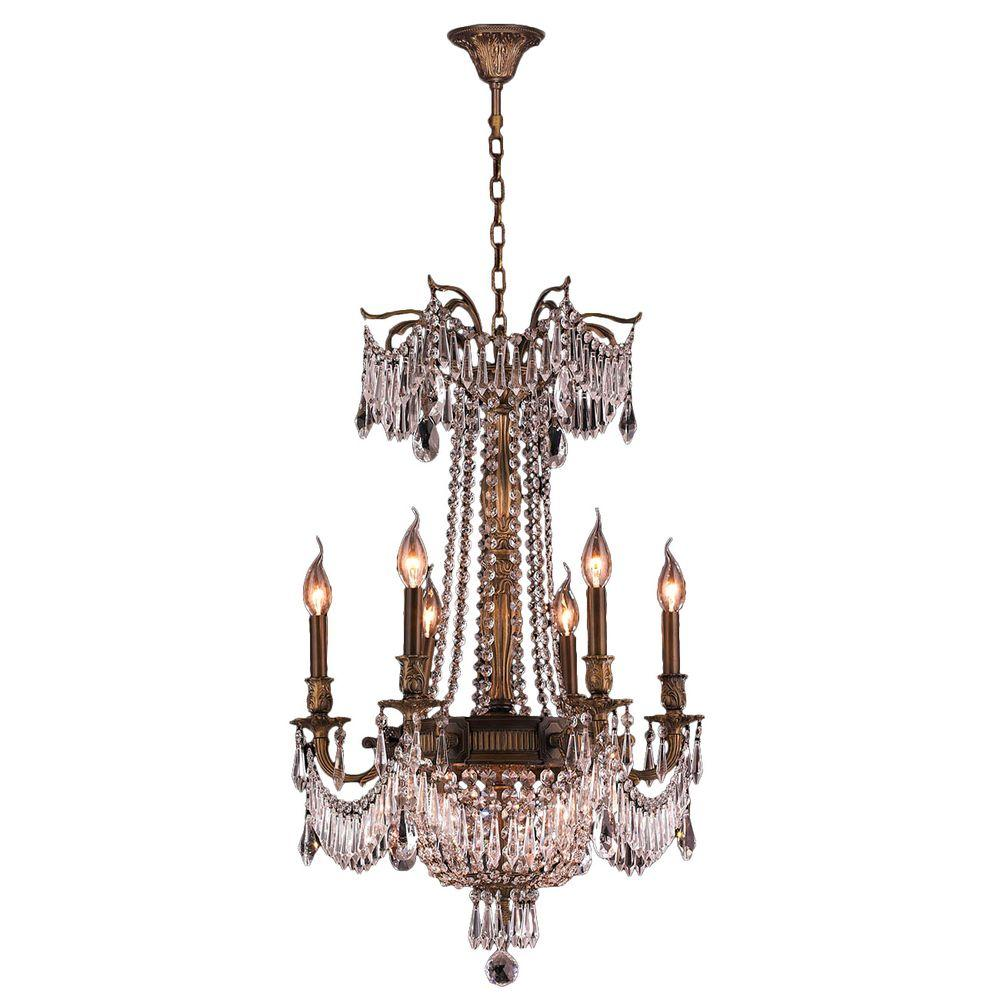 Worldwide Lighting Winchester Collection 9-Light Antique Bronze and Crystal Chandelier