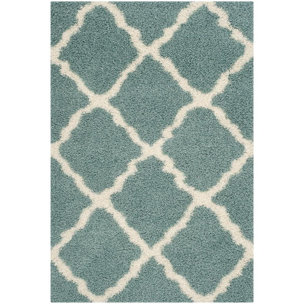 Safavieh Dallas Shag Seafoam Ivory 6 Ft X 9 Area Rug