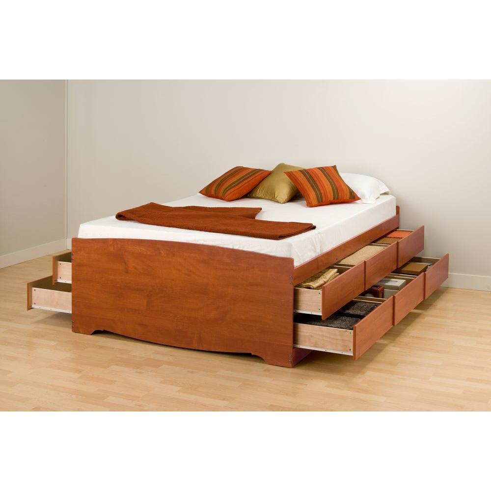 Prepac Queen Wood Storage Bed, Red