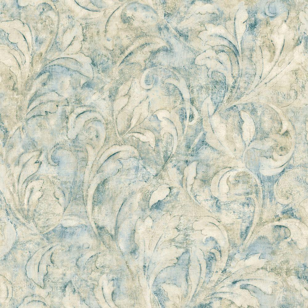 The Wallpaper Company 56 sq. ft. Blue and Beige Foliage Scroll Wallpaper-DISCONTINUED
