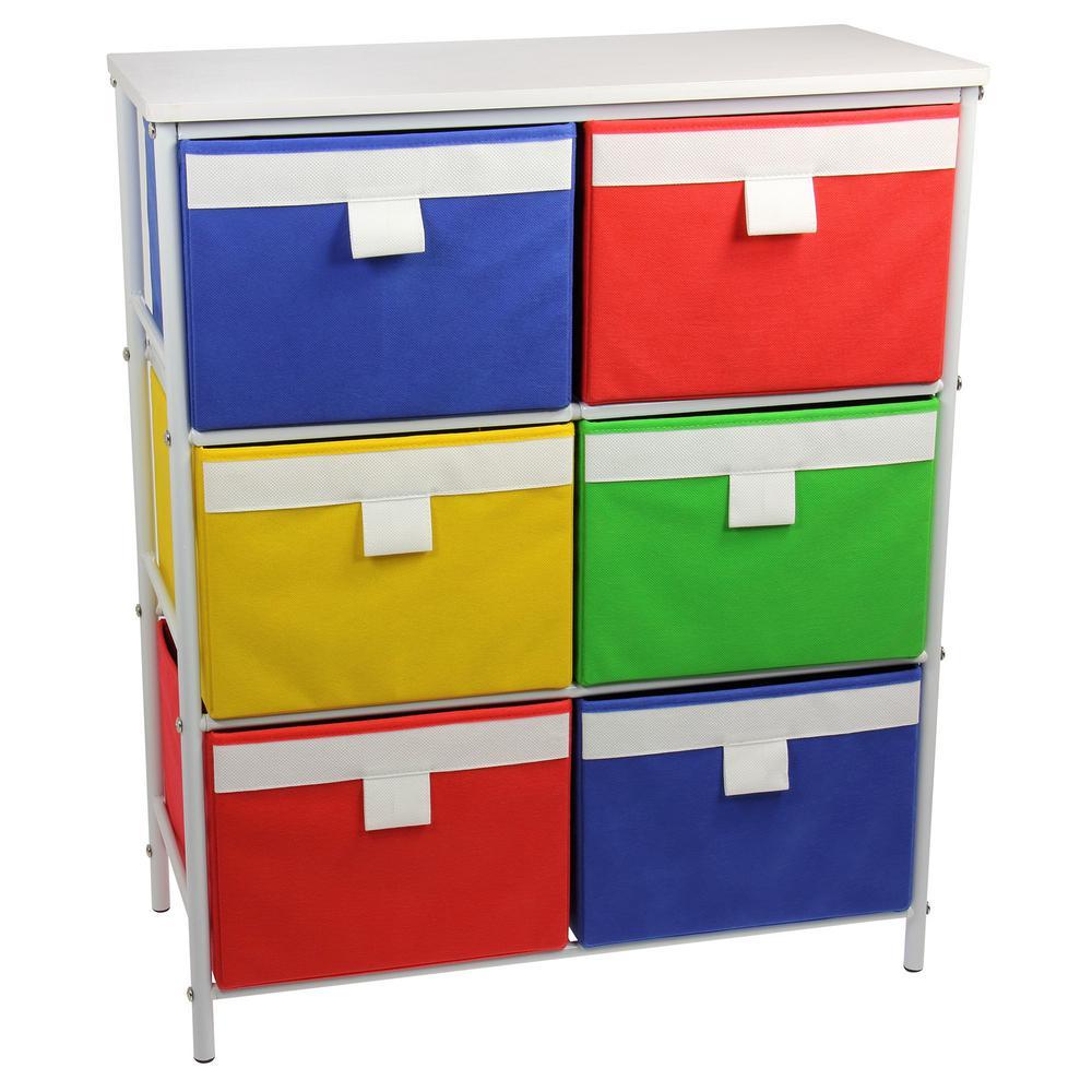White 3-Metal Shelf with 6-Colorful Bins Storage Stand