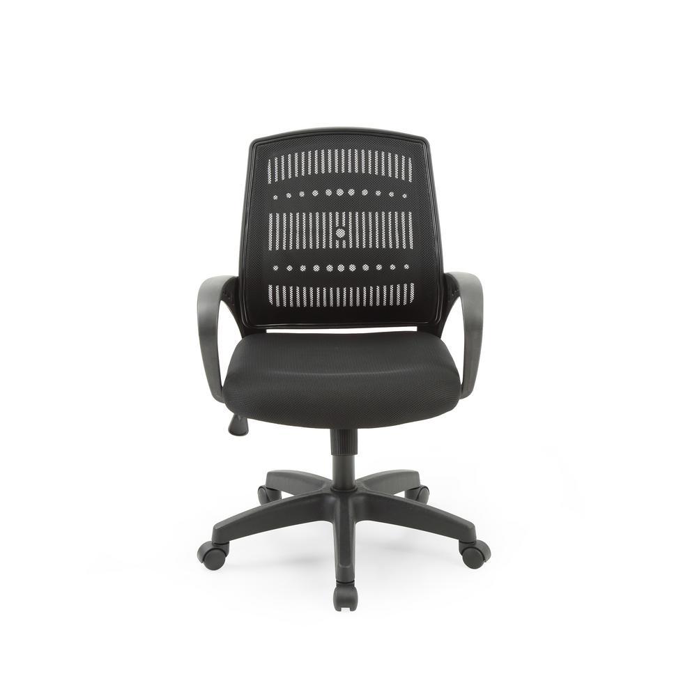 Black Adjustable Mid-back Swivel Office Chair