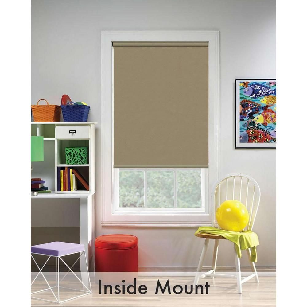 Beige Blackout Cordless Fabric Thermal Blocking Roller Shade - 55.25 in.
