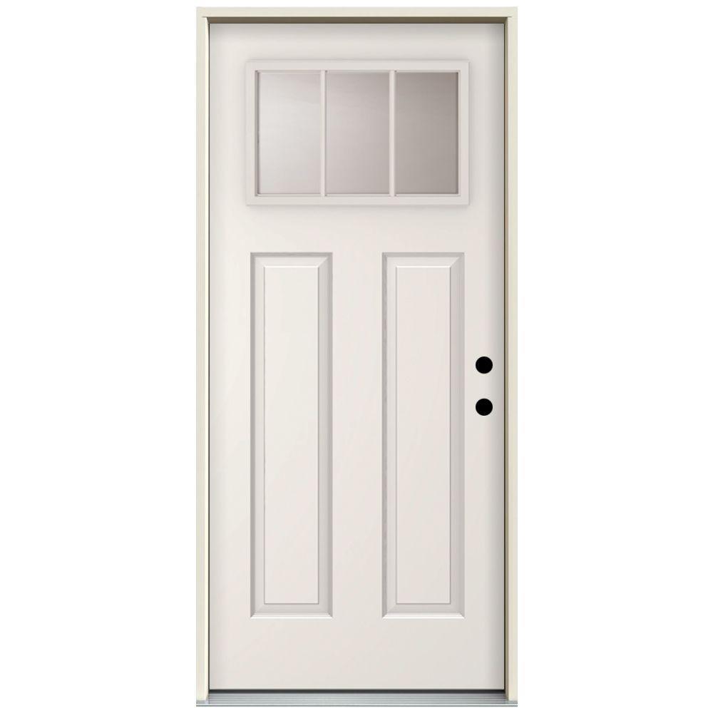 36 in. x 80 in. 3 Lite Left-Hand Inswing Primed White Steel Prehung Front Door with 4 in. Wall