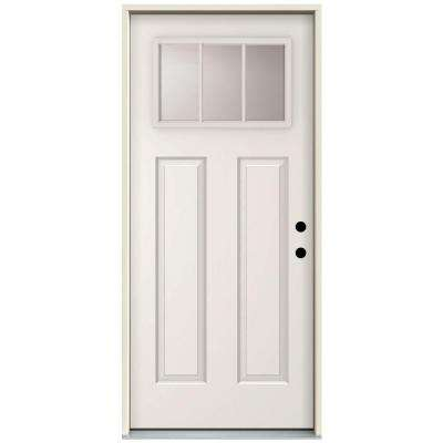 3 Lite Primed White Steel Prehung Front Door w/ 4 in. Wall