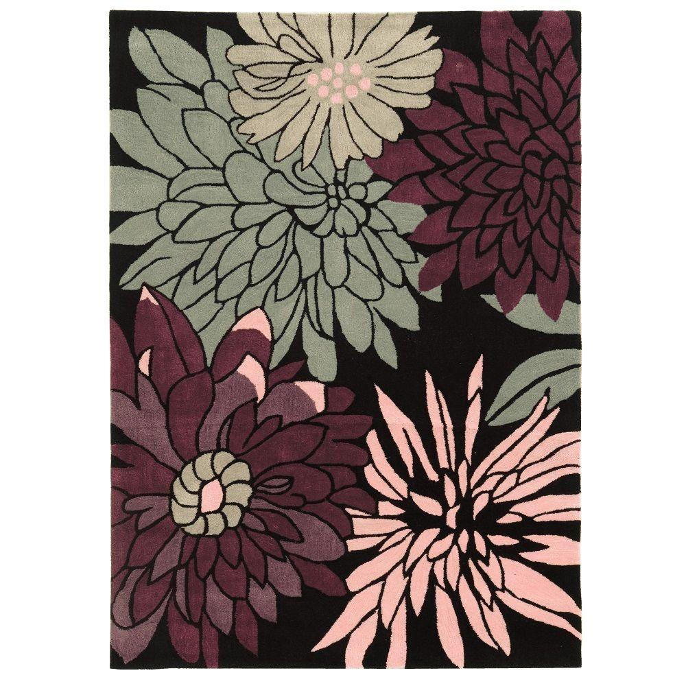 Linon Home Decor Trio Collection Black and Multi 1 ft. 10 in. x 2 ft. 10 in. Indoor Area Rug
