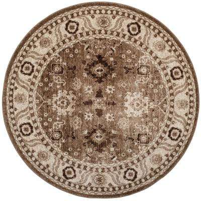 Vintage Hamadan Taupe 5 ft. 3 in. x 5 ft. 3 in. Round Area Rug