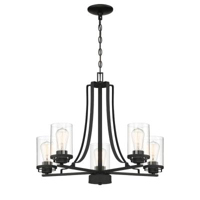 Jedrek 5-Light Black Chandelier with Clear Glass Shade
