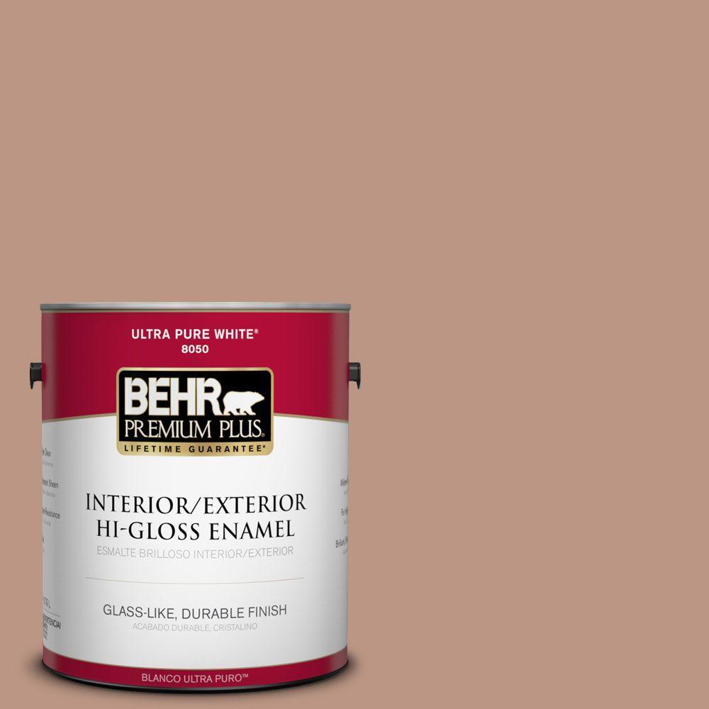 BEHR Premium Plus 1-gal. #S190-4 Spiced Brandy Hi-Gloss Enamel Interior/Exterior Paint