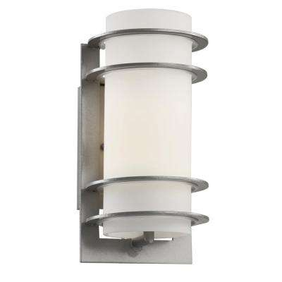 1-Light Outdoor Silver Cylinder Wall Lantern With Frosted Glass