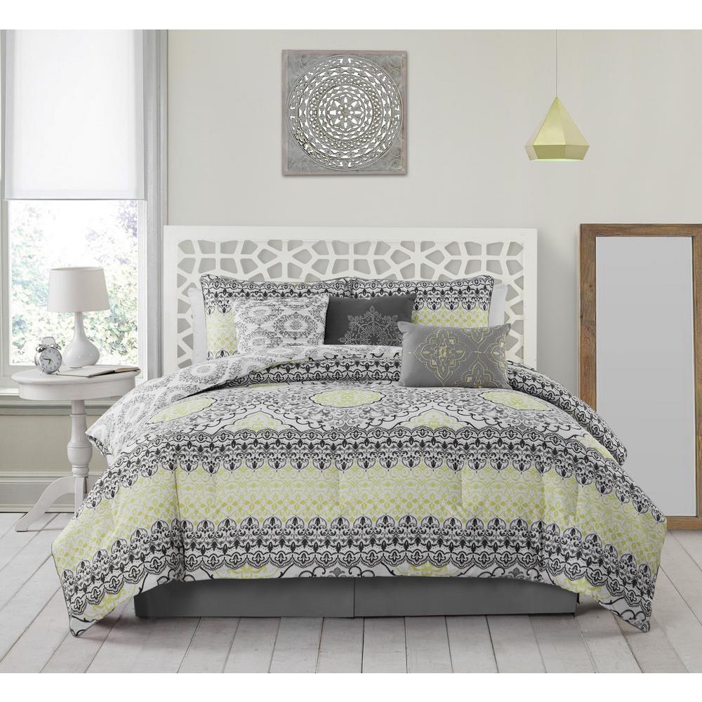 Celia 7 Piece Grey And Lime King Comforter Set
