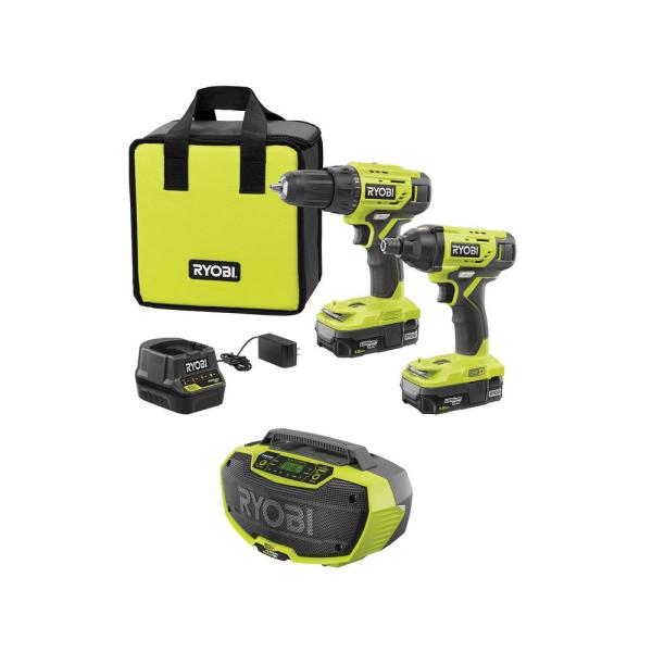 18-Volt ONE+ Cordless 2-Tool Drill/Driver and Impact Driver Combo Kit with Hybrid Stereo