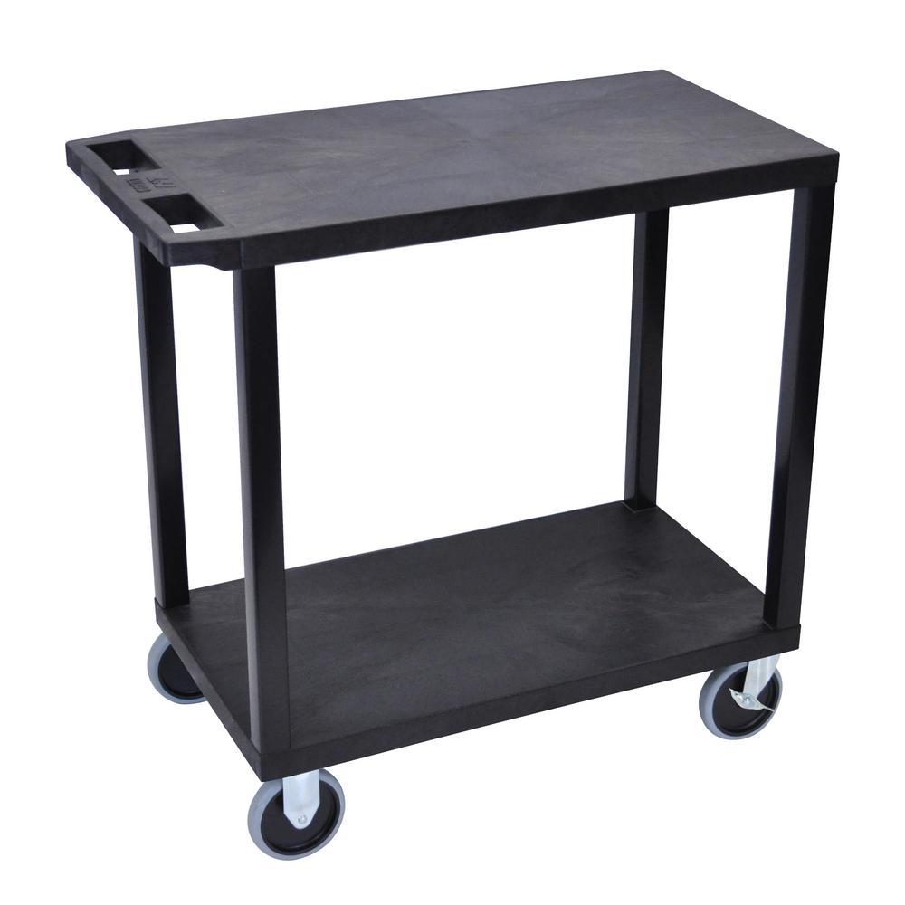 EC 32 in. 2-Shelf Utility Cart with 5 in. Casters in Black