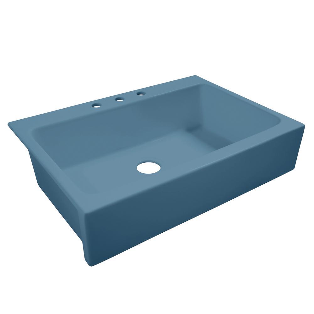 SINKOLOGY Josephine Quick-Fit Drop-in Farmhouse Fireclay 33.85 in. 3-Hole Single Bowl Kitchen Sink in Oceanside Matte Blue