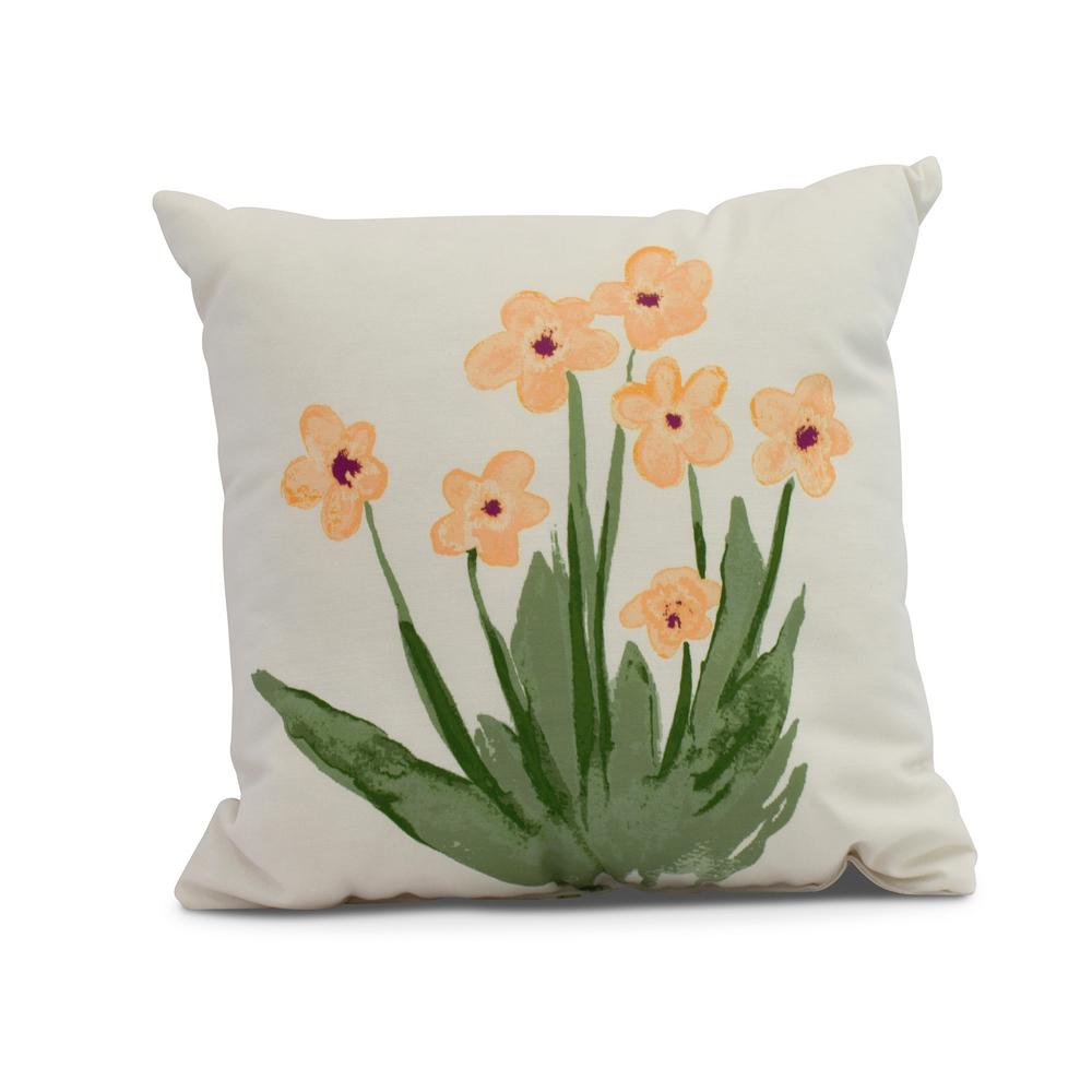Pretty Little Flower 18 In Yellow Decorative Floral Throw Pillow