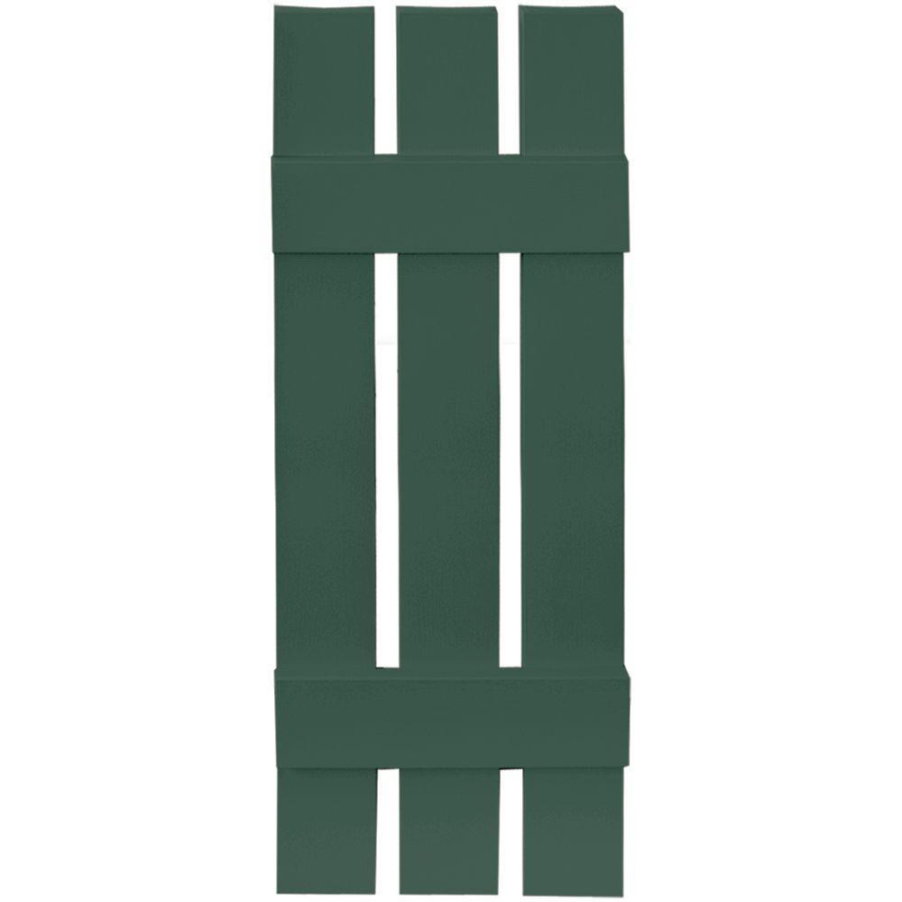 12 in. x 35 in. Board-N-Batten Shutters Pair, 3 Boards Spaced #028 Forest Green