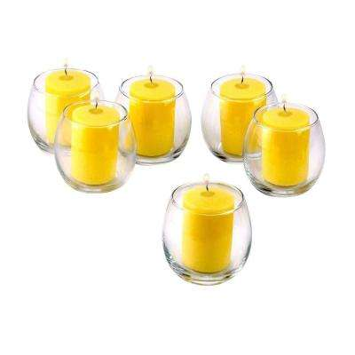 Clear Glass Hurricane Votive Candle Holders with Citronella Yellow Votive Candles (Set of 36)