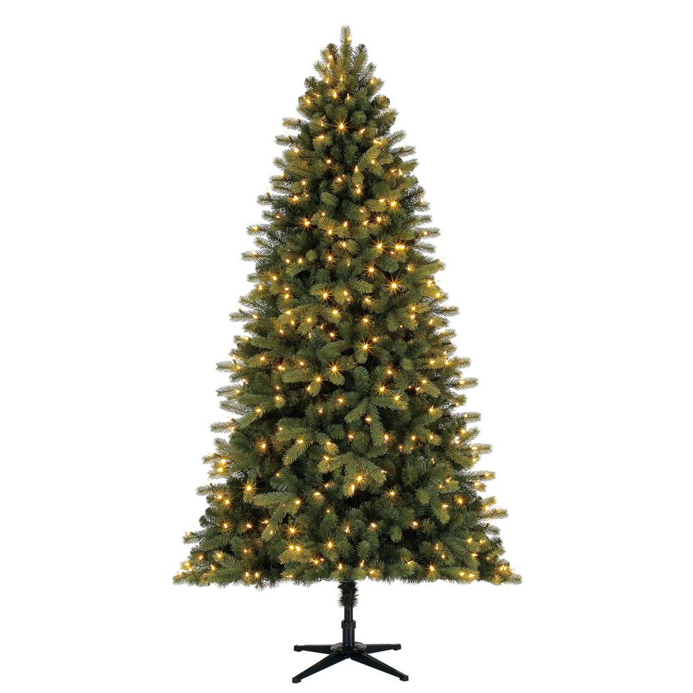 Home Accents Holiday 7.5 ft. Pre-Lit LED Overland Pine Artificial Christmas Tree with 400 SureBright Color-Changing Lights