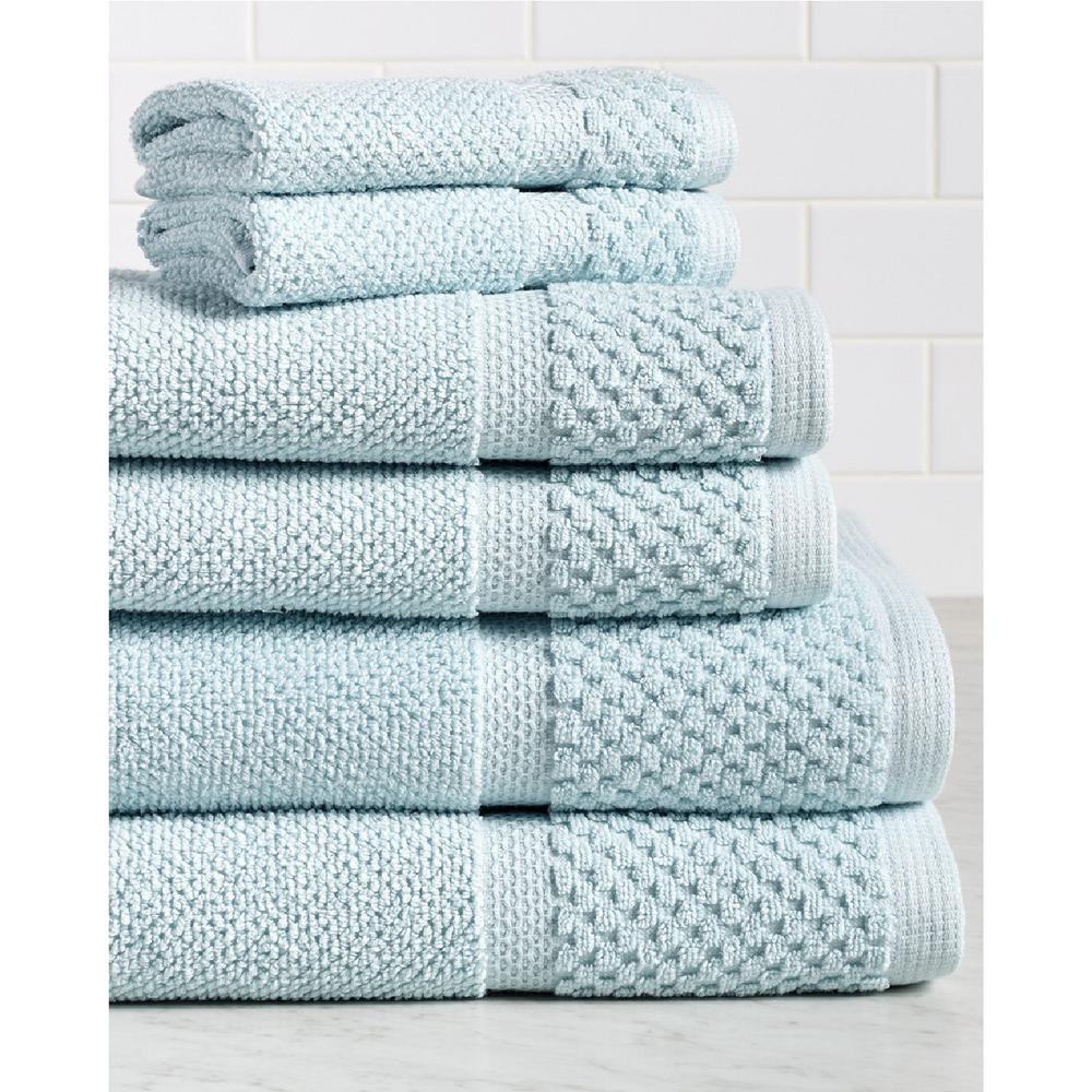 Diplomat 6-Piece 100% Cotton Bath Towel Set in Spa Blue