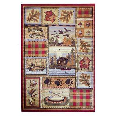 Wilderness Design Tan Leaf Duck Fish Canoe and Lodge 5 ft. 2 in. x 7 ft. 1.5 in. Indoor Area Rug