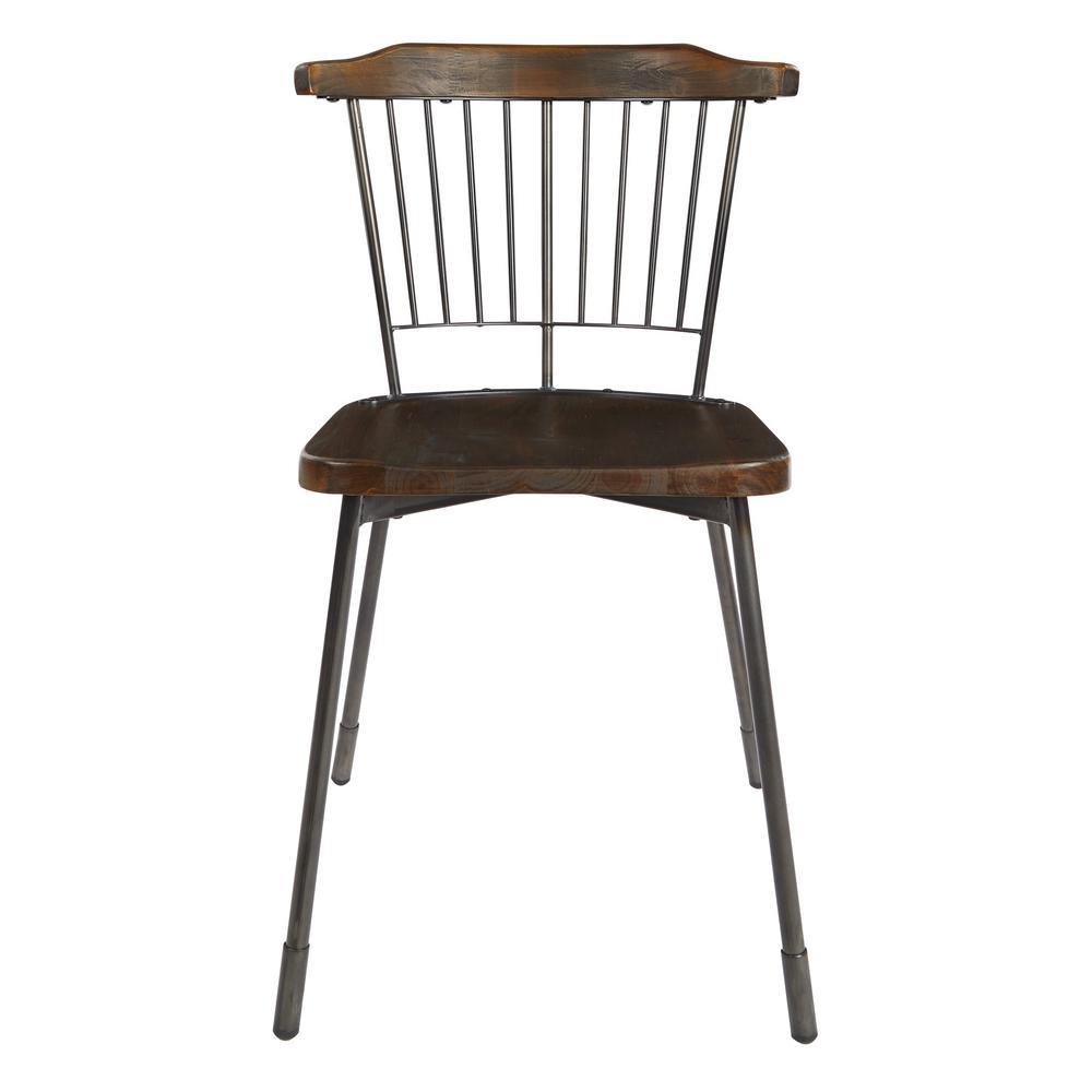 Ashby Matte Gunmetal Dining Chair with Fir Wood Seat