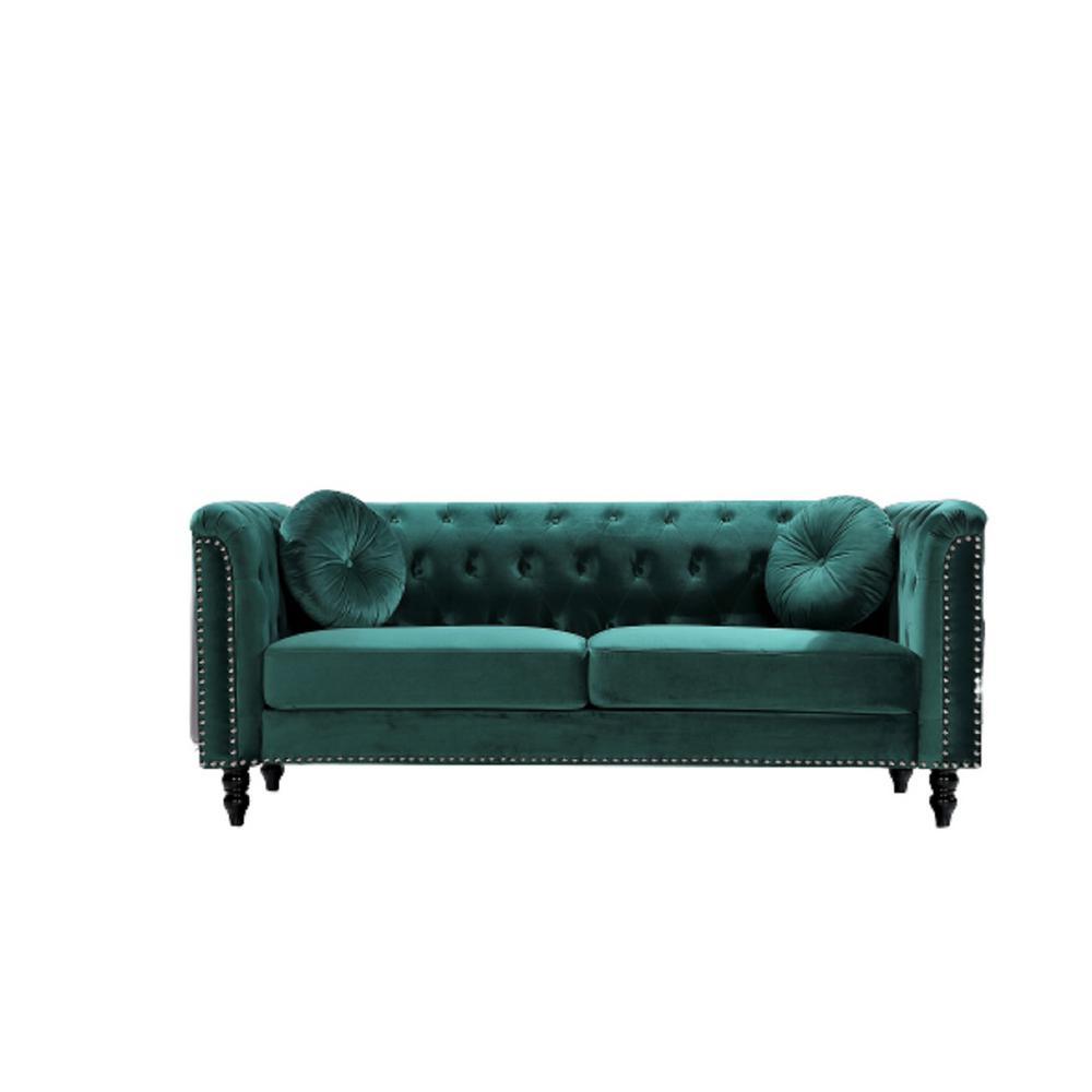 Vivian Green Classic Velvet Kittleson Nailhead Chesterfield Sofa
