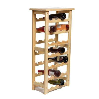 28 Bottle Decorative Natural Wood Wine Rack