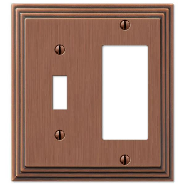 Tiered 2 Gang 1-Toggle and 1-Rocker Metal Wall Plate - Antique Copper
