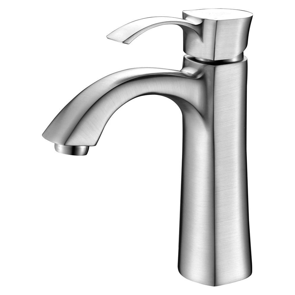 Rhythm Series Single Hole Single-Handle Mid-Arc Bathroom Faucet in Brushed