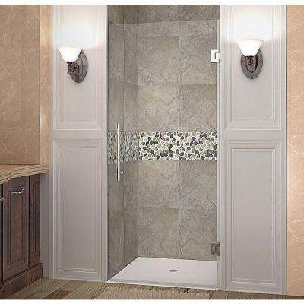 Cascadia 33 in. x 72 in. Completely Frameless Hinged Shower Door in Chrome