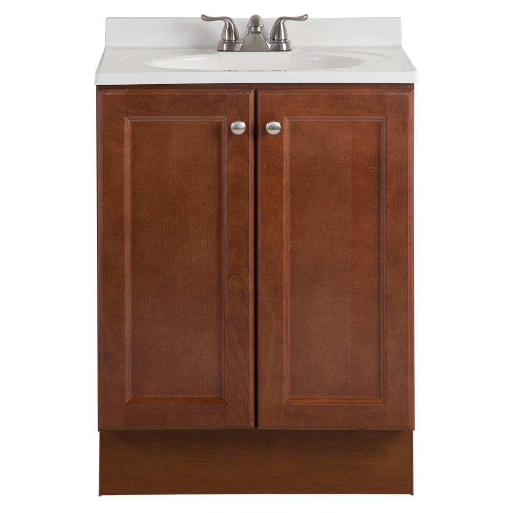 Glacier Bay Vanity Pro All-in-One 24 in. W Bathroom Vanity in Amber with Cultured Marble Vanity Top in White with White Sink