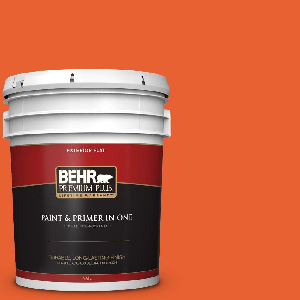 BEHR Premium Plus 5-gal. #S-G-230 Startling Orange Flat Exterior Paint