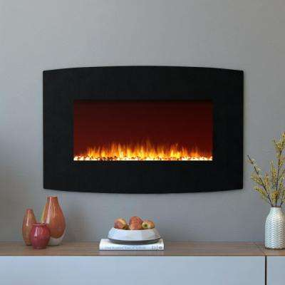 Chelsea 35 in. Curved Wall Mounted Electric Fireplace in Black Pebble